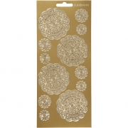 Stickers,  10x23 cm, guld, blommor, 1ark