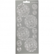 Stickers,  10x23 cm, silver, blommor, 1ark