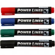 Power Liner, spets: 1,5-3 mm, mixade färger, 4st.