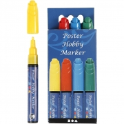 Poster Hobby Marker, spets: 3 mm, 4 st., mixade färger