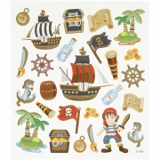Stickers,  15x16,5 cm, ca. 26 st., , pirater, 1ark