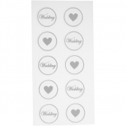 Stickers, svart,  7,8x15,5 cm, dia. 25 mm, hjärta - wedding, 2mix. ark