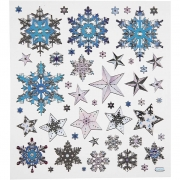 Fancy stickers,  15x16,5 cm, ca. 48 st., Snöflingor, 1ark