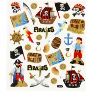 Stickers,  15x16,5 cm, , pirater, 1ark