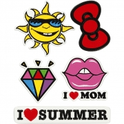 Soft Stickers,  12,2x17,75 cm, I Love Mom, 1ark