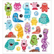 Stickers,  15x16,5 cm, ca. 25 st., monster, 1ark