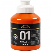 A-color akrylfärg, orange, 01 - blank, 500ml