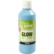 Glow in the dark, självlysande färg, fluorescerande ljusblå, 250 ml/ 1 flaska