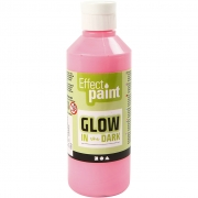 Glow in the dark, självlysande färg, fluorescerande ljusröd, 250ml