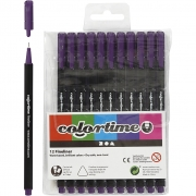 Colortime Fineliner Tusch, spets: 0,6-0,7 mm, lila, 12st.