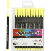 Colortime Fineliner Tusch, spets: 0,6-0,7 mm, gul, 12st.