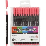 Colortime Fineliner Tusch, spets: 0,6-0,7 mm, pink, 12st.