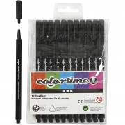 Colortime Fineliner Tusch, spets: 0,6-0,7 mm, svart, 12st.
