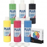 Plus Color hobbyfärg, primärfärger, 6x250 ml/ 1 förp.