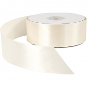 Satinband, cream, B: 38 mm, 50 m/ 1 rl.