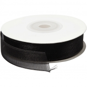 Organza band, B: 15 mm, 20 m, svart