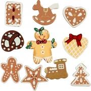 Pepparkakfigurer, H: 20-30 mm, 10st.