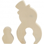 Snögubbar, H: 7,7+20 cm, B: 5,3+11,3 cm, 1 set, plywood