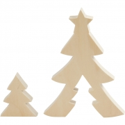 Julgranar, H: 8+20 cm, B: 6,5+14,5 cm, 1 set, plywood