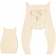 Ugglor, H: 6+11,5 cm, B: 3,8+7,5 cm, 1 set, plywood