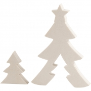 Julgranar, H: 4,5+11,5 cm, B: 4+8,2 cm, 1 set, plywood