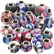 Clay Charm Beads, dia. 11-14 mm, hålstl. 4,5 mm, 30 mix., mixade färger